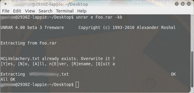 extraire avec unrar sous (Extract with unrar on) linux | Gautam's β